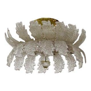 1970s Mid Century Modern Italy Handblown Murano Glass Leaf Fixture Chandelier For Sale