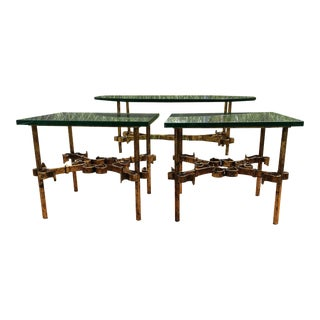 1950s Brutalist Spanish Gilded Iron Glass Tables - 3 Pieces For Sale