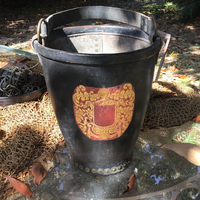 Leather Fire Bucket With Brass Rivets and Crest For Sale - Image 11 of 11
