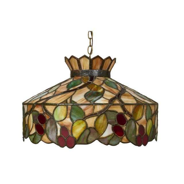 Mid Century Modern Tiffany Style Stained Glass Pendant Light Fixture