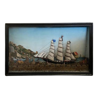 French Ship Diorama With Schooners, Castle and Seaside Landscape For Sale