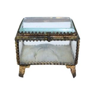 French Ormolu Beveled Glass Jewelry Box For Sale