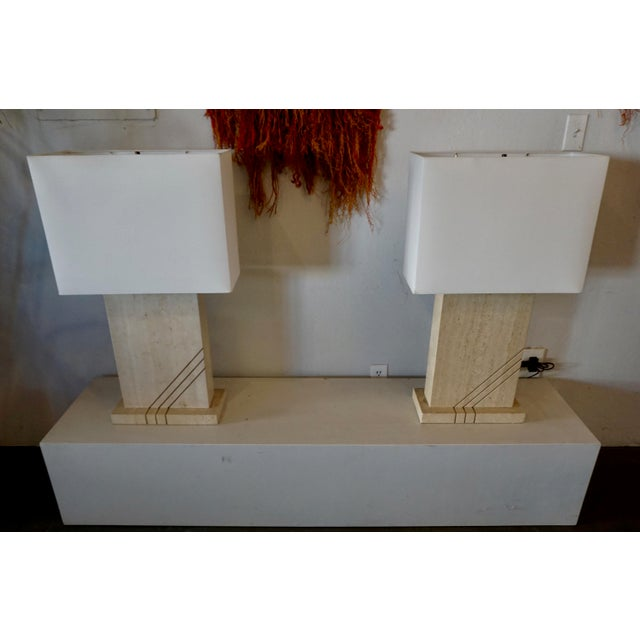 Brown 1980s Postmodern Travertine Table Lamps - a Pair For Sale - Image 8 of 8