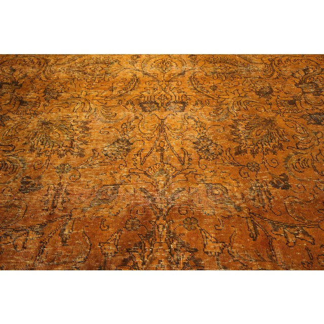"Orange Tabriz Overdyed Area Rug - 9'10"" X 12'3"" - Image 8 of 10"
