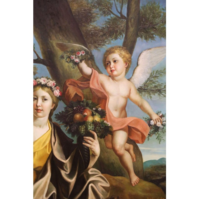 Mid 20th Century Large Mid-Century French Allegory Oil on Canvas Painting in Carved Frame For Sale - Image 5 of 10