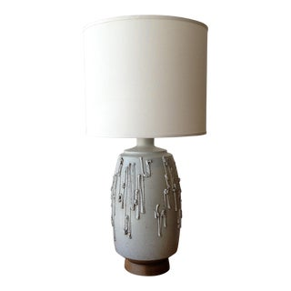 1960s David Cressey Drip Texture Ceramic Table Lamp for Architectural Pottery With Shade For Sale