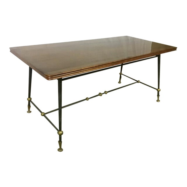 Jules Leleu Stamped Coffee Table With Wrought Iron Base For Sale