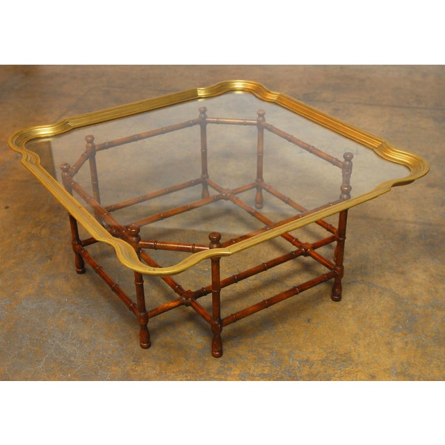Baker Bamboo and Brass Tray Top Coffee Table - Image 2 of 10