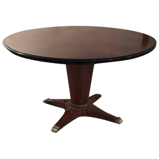 "French Art Deco Round ""Sunburst"" Dining Table With Silver Hardware For Sale"