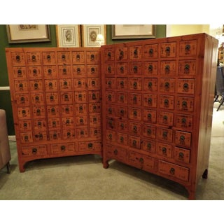 Vintage Asian Apothecary Chests, 45 Labeled Drawers Each - a Pair Preview