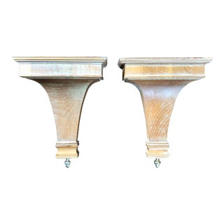 Contemporary Limed Oak Decorative Brackets- a Pair For Sale