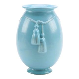 Vintage Blue Welled Art Pottery Vase With Tassels For Sale