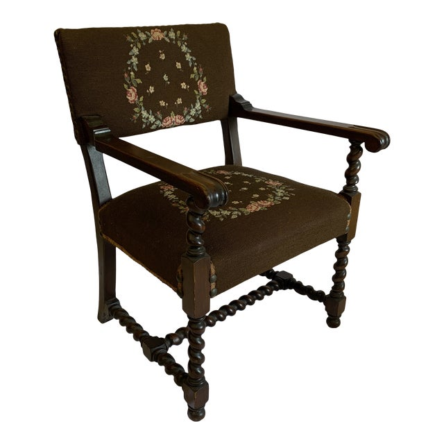 Jacobean Burgundian Style Barley Twist Chair For Sale