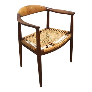 1940s Vintage Hans Wegner Teak and Cane Round Chair For Sale