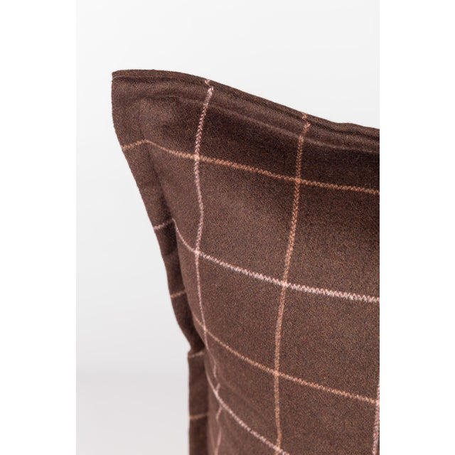 Chocolate Brown Plaid Wool Pillows - A Pair - Image 2 of 4