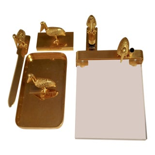 Golden Pelican Executive Desk Set - 6 Pieces For Sale