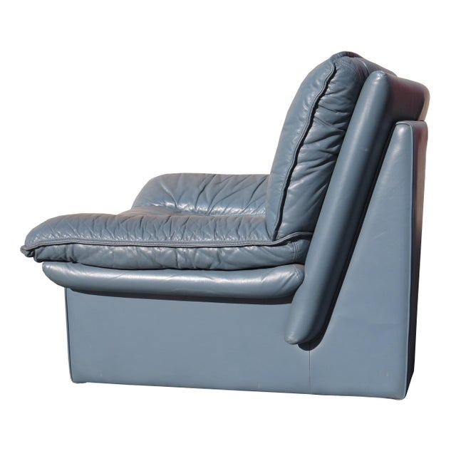 1970's Modern Nicoletti Salotti Leather Sofa and Lounge Chair- 2 Pieces For Sale - Image 10 of 13