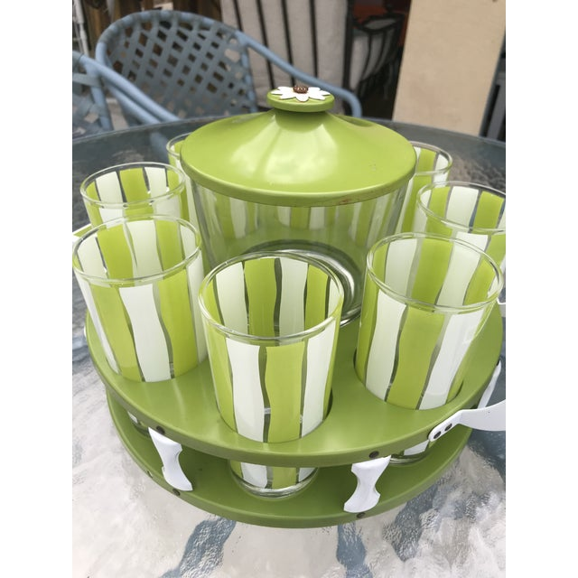Vintage Mid-Century Modern Bar Glassware Ice Bucket and Tray Set For Sale - Image 10 of 12