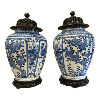 Japanese Arita Blue and White Porcelain Vases - a Pair For Sale
