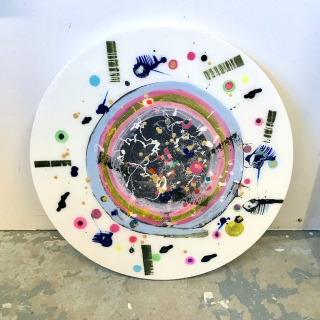 Final Mark-Down Contemporary Pastel Circular Painting by Natasha Mistry For Sale In Denver - Image 6 of 8