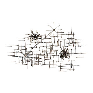 Abstract Pom Pom Nail Wall Sculpture