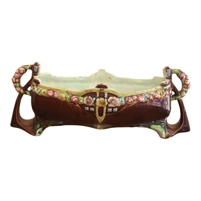 Floral Majolica Low Centerpiece Bowl For Sale