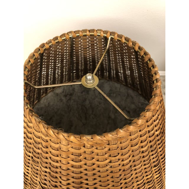 1970s Vintage Rattan Lamp Shades - a Pair For Sale - Image 5 of 12