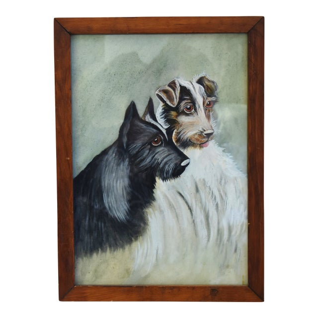 Midcentury Watercolor Painting of a Pair of Charming Dogs For Sale