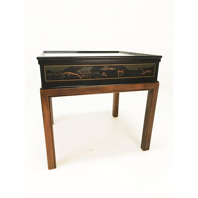Metal Drexel Heritage Chinoiserie Chippendale Side Table For Sale - Image 7 of 12