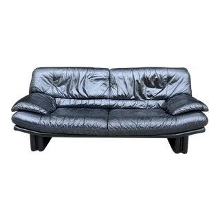 1980s Postmodern Nicoletti Salotti Leather Sofa For Sale