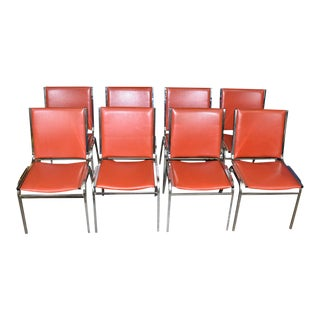 Mid-Century Bright Red Chrome Dining Chairs - Set of 8 For Sale