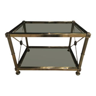 Mid-Century Modern Two-Tier Brass and Smoked Glass End Table by Mastercraft For Sale