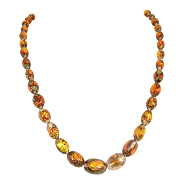Venetian Fire Opal Foiled Glass Bead Necklace 1950s For Sale