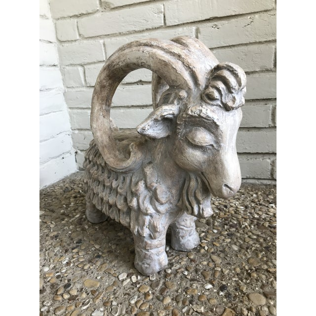 Adorably cool and heavy ram sculpture by Austin Productions. Signed and made in 1971 this was part of their Zodiac...