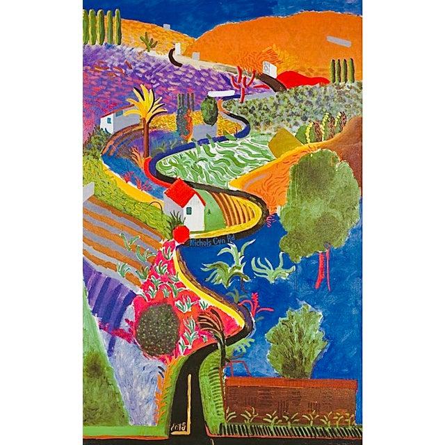 Original, Iconic 2001 David Hockney Exhibition Poster, Nichols Canyon, 1980, for the Louisiana Museum of Art, Denmark...