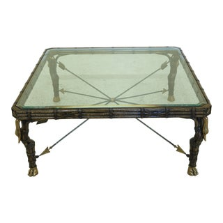 Maitland Smith Leather Wrapped Brass Swan Regency Coffee Table For Sale