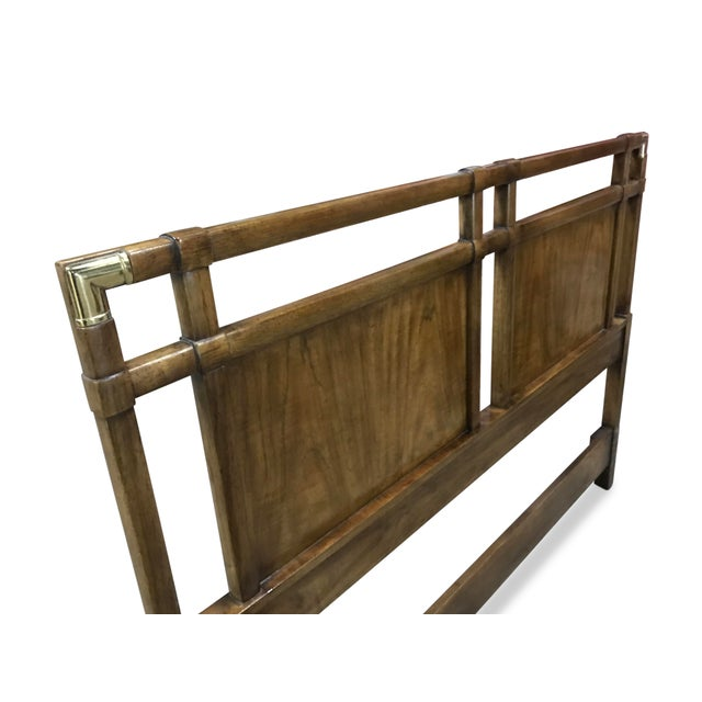 Metal Vintage Walnut and Brass Campaign Headboard by Drexel Queen Size For Sale - Image 7 of 10