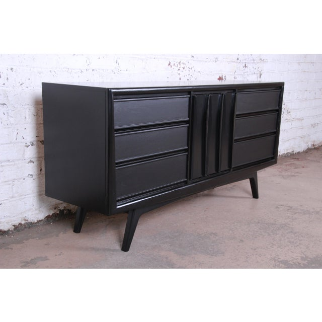 United Furniture Corporation Mid-Century Modern Ebonized Walnut Triple Dresser or Credenza by United For Sale - Image 4 of 11
