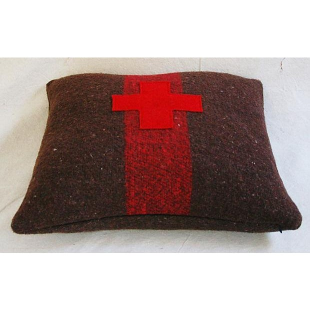Swiss Appliqué Red Cross Wool Pillow - Image 6 of 7