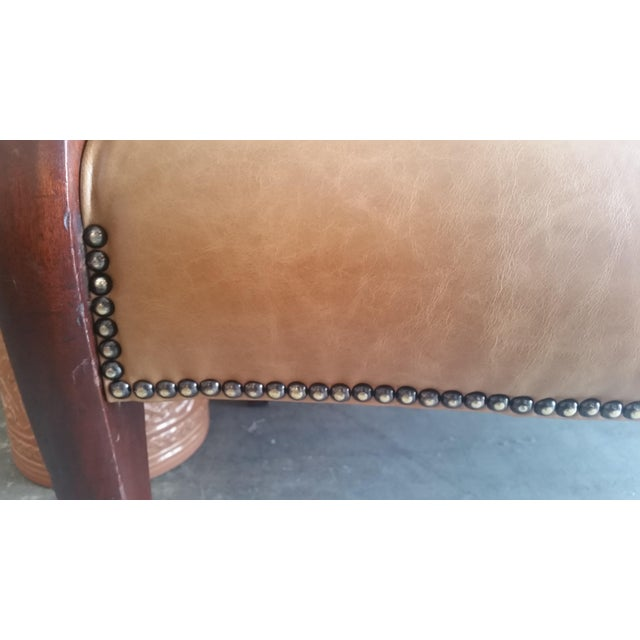 Vintage Dark Wood & Tan Leather Bench - Image 5 of 5
