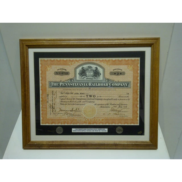 """Vintage Framed & Matted Multi-Media Collage """"1928 Pennsylvania Railroad Stock Certificate"""" For Sale - Image 4 of 4"""
