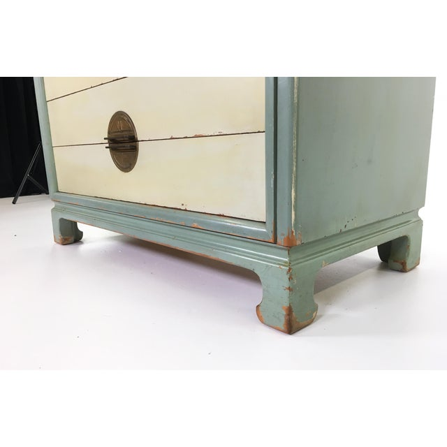 White Asian Inspired Mid-Century Modern Solid Wood Bachelor Chest of Drawers For Sale - Image 8 of 13