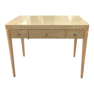 Birdseye Maple Signed 1 Drawer Desk With Brass Accent