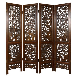 Chinese Antique Carved Teak Wood Panels Screen/Room Divider For Sale