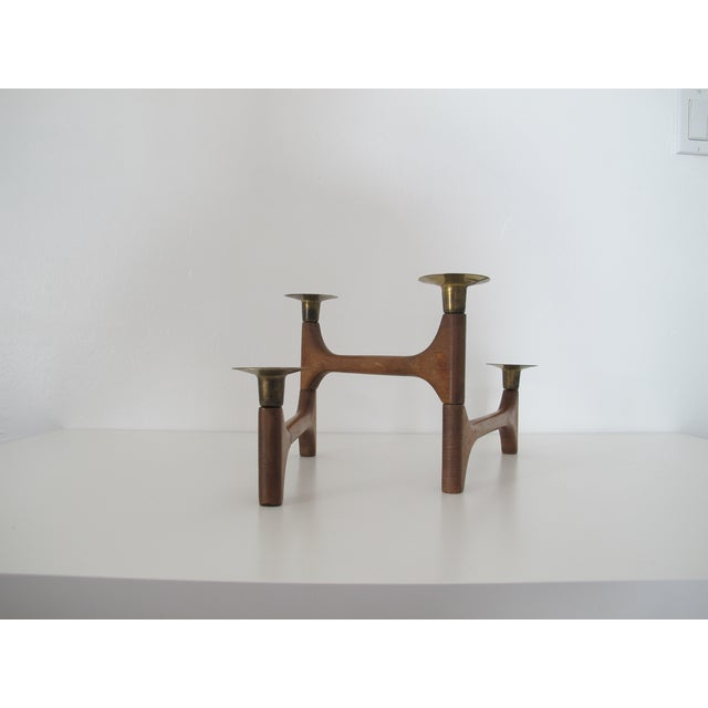 Mid-Century Wood and Brass Candelabra - Image 5 of 8