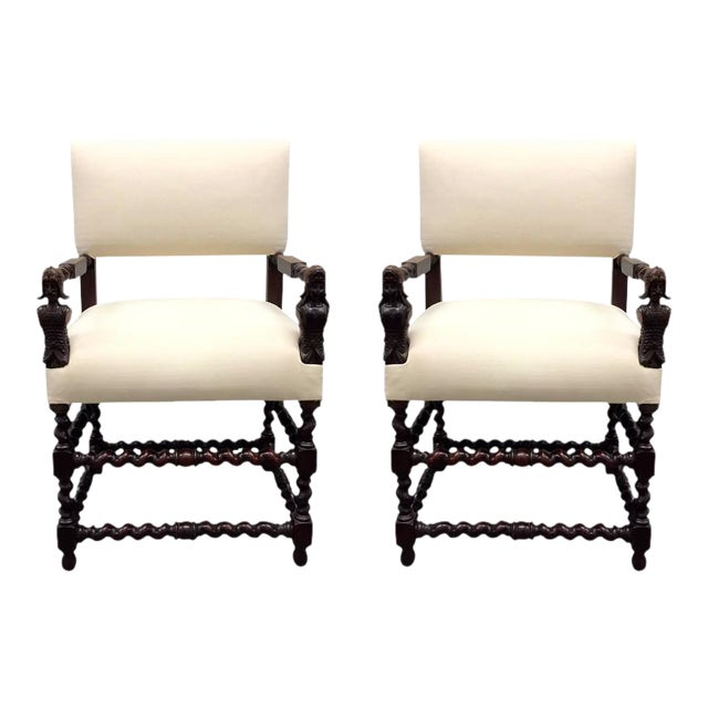 Pair of Franco Flemish Baroque Style Walnut Armchairs For Sale