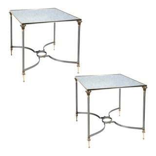Neoclassical Style Brushed Steel & Brass Table With Mirrored Top - a Pair For Sale