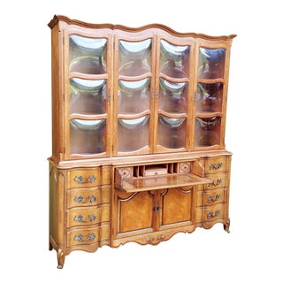 1950s Vintage Karges Furniture French Country Butlers Desk & Paned Bubble Glass China Cabinet