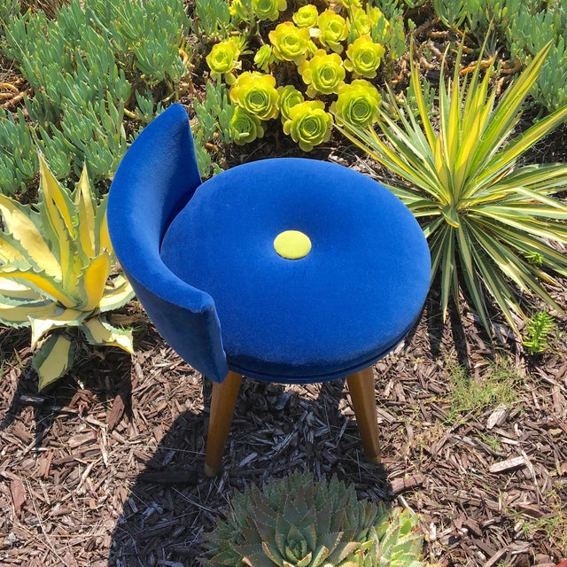 Brass Mid-Century Modern Swivel Blue Velvet Vanity Chair For Sale - Image 7 of 9