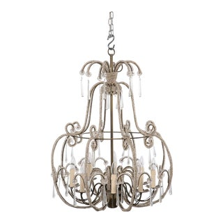 All Beaded French Style Eight Light Chandelier For Sale